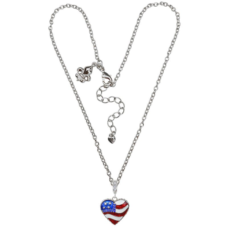 American Heart Flag Necklace - American Necklace Jewelry
