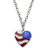 Triple Chain American Flag Necklace | American Jewelry - Front Side