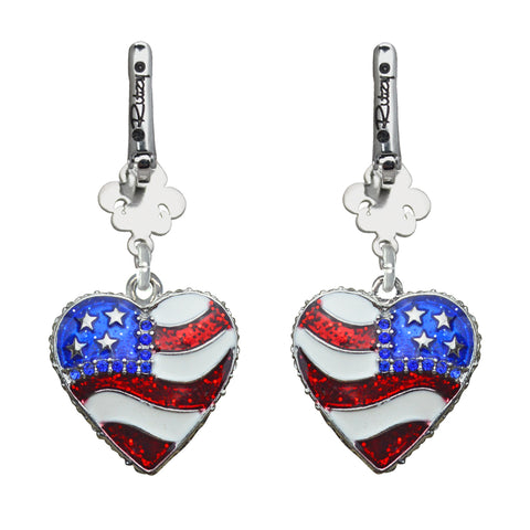 American Heart Flag & Crystal USA Red White & Blue Leverback Earrings (Silvertone) Ritzy Couture