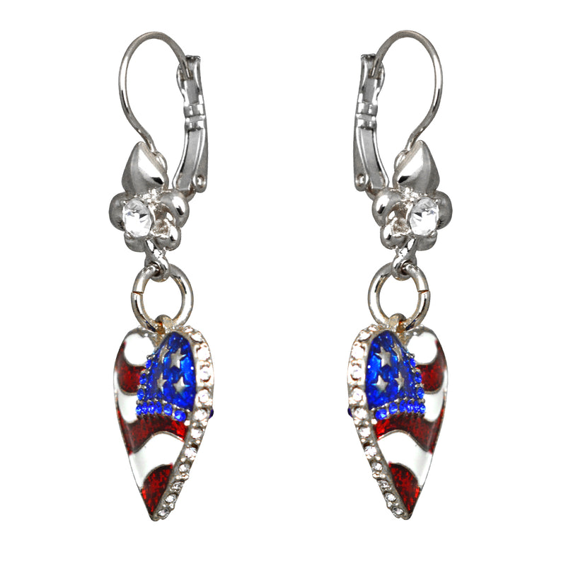 American Flag Heart Shaped Charm Earrings For Women - Side View