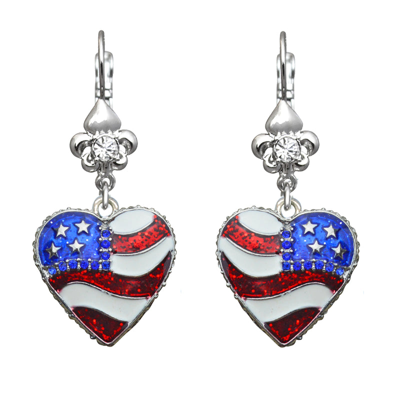 American Flag Heart Shaped Charm Earrings For Women