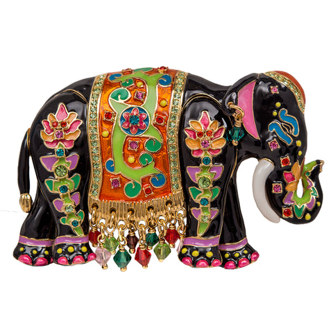 Royal Maharajah Painted Elephant Black Multicolor Pin/Pendant (Goldtone) Ritzy Couture