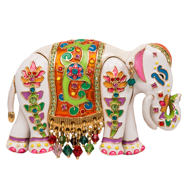 Royal Maharaja Painted Elephant White Multicolor Pin/Pendant (Goldtone) Ritzy Couture