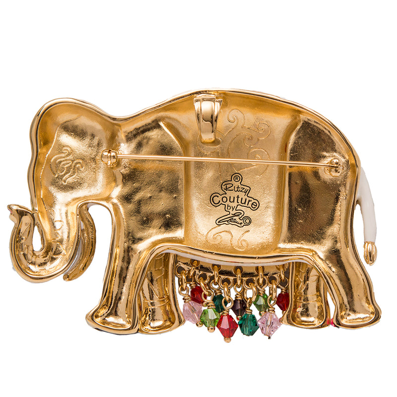 Royal Maharaja Elephant White Multicolor Pin Pendant - Back Side