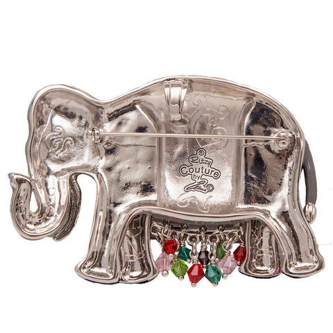 Royal Maharajah Painted Elephant Grey Multicolor Pin/Pendant (Silvertone) Ritzy Couture
