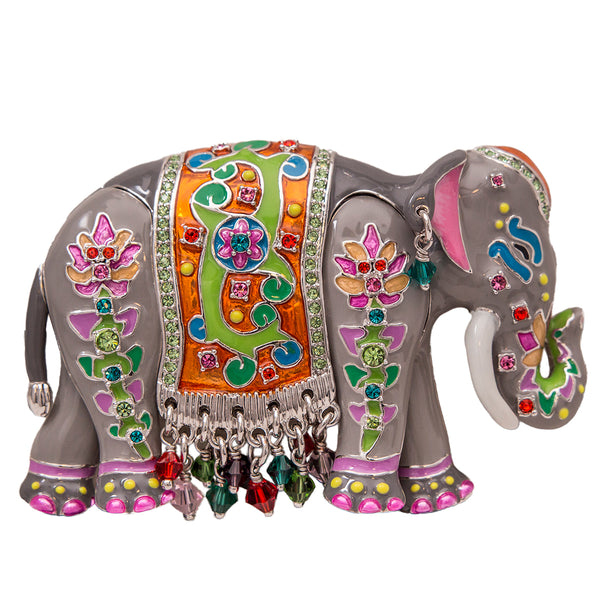 Royal Maharajah Painted Elephant Gray Multicolor Pin/Pendant (Silvertone) Ritzy Couture