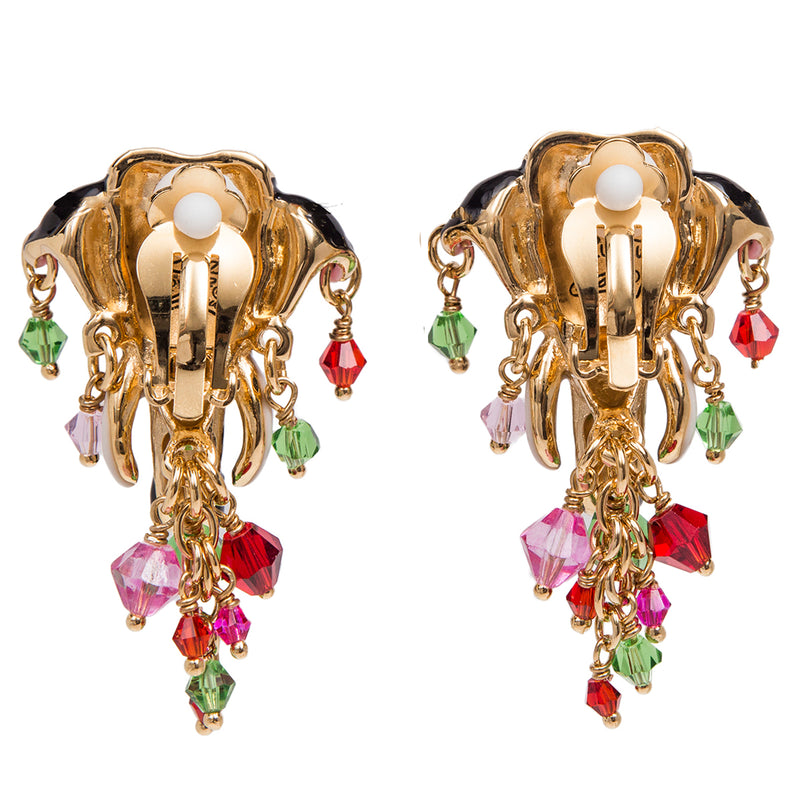 Royal Maharajah Painted Elephant Multicolor Earrings | Back Side