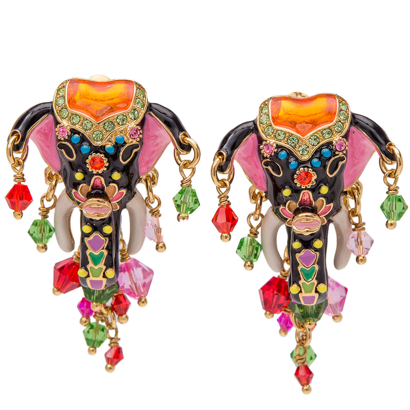 Royal Maharajah Painted Elephant Multicolor Earrings - Front Side