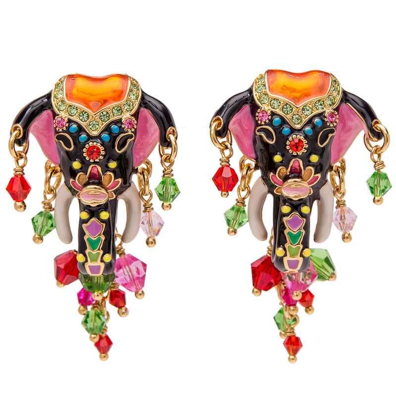 Royal Maharajah Painted Elephant Multicolor Earrings