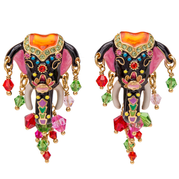 Royal Maharajah Painted Elephant Black Multicolor Dangle Earrings (Goldtone) Ritzy Couture
