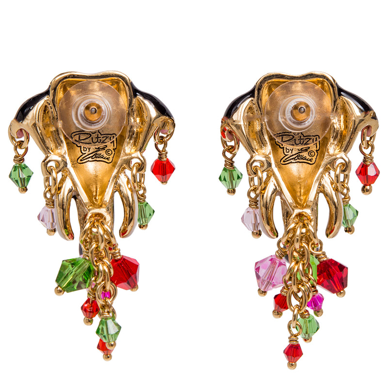 Royal Maharajah Painted Elephant Multicolor Earrings - Back Side