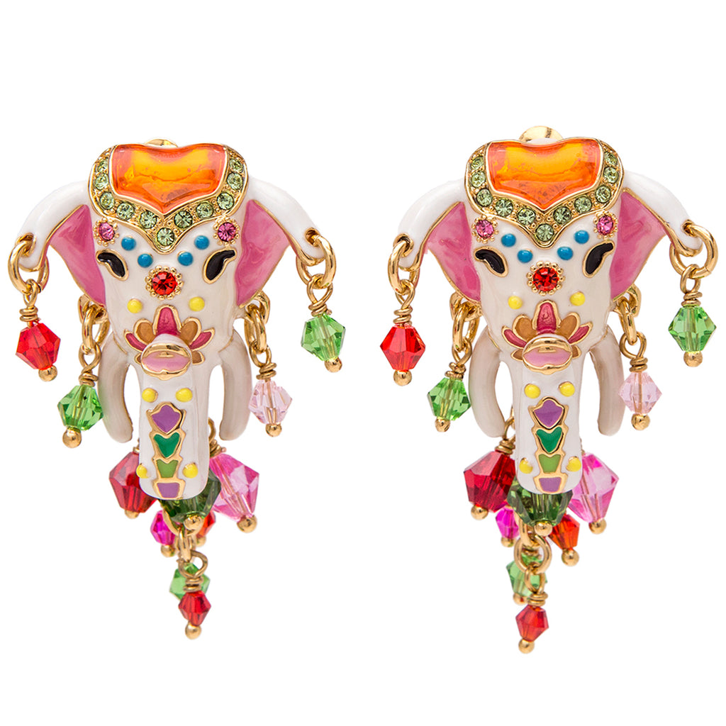 Royal Maharaja Painted Elephant Dangle Earrings