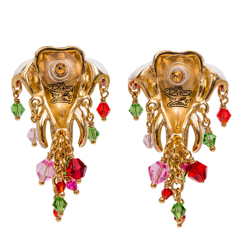 Royal Maharaja Painted Elephant White Multicolor Dangle Earrings (Goldtone) Ritzy Couture