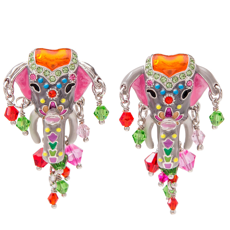 Royal Maharaja Painted Elephant Earrings For Women - Front Side