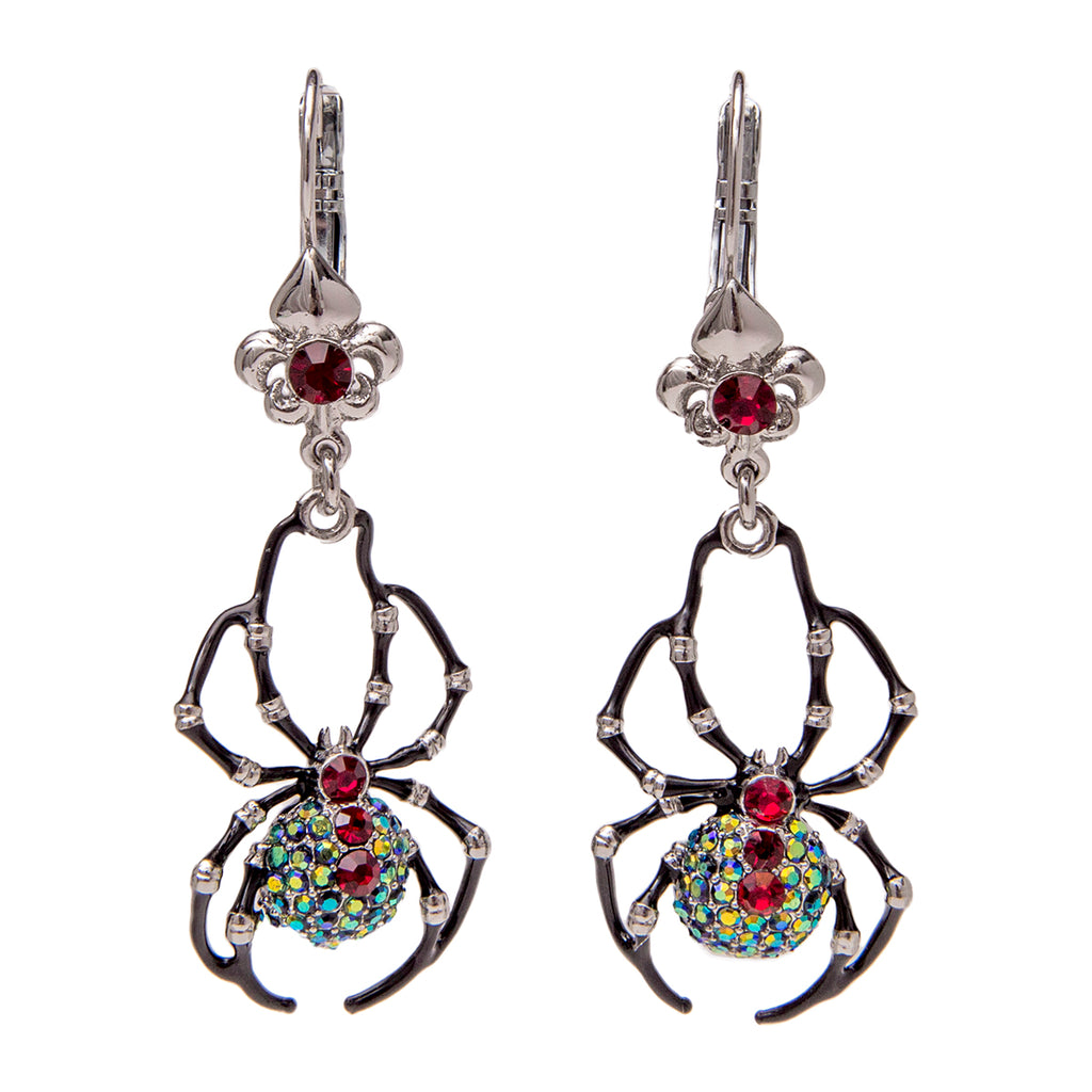 Halloween Black Spider AB Crystal Earrings