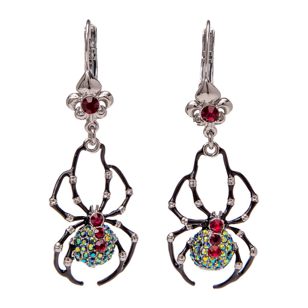 Itsy Bitsy Spider Black AB Crystal Leverback Earrings (Silvertone) Ritzy Couture