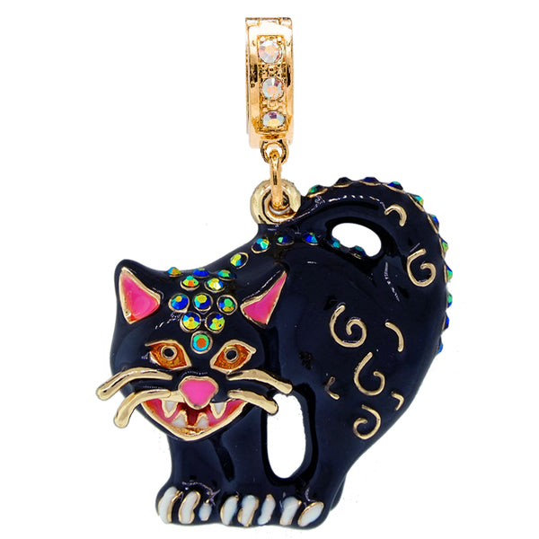 Halloween Scared Black Cat Enhancer Charm (Goldtone)