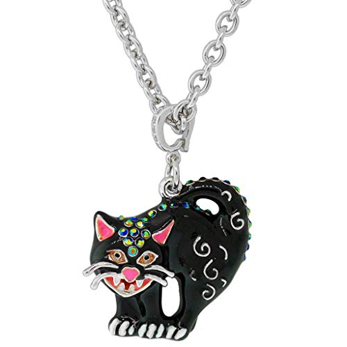 Halloween Scared Black Cat Charm (Silvertone)