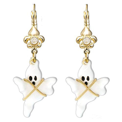 """Ghost Story"" Spooky Halloween Poltergeist Leverback Earrings (Goldtone) Ritzy Couture"
