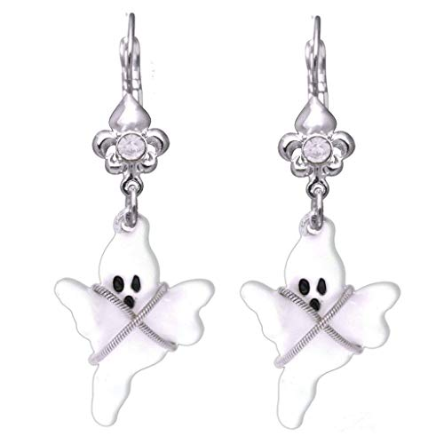 """Ghost Story"" Spooky Halloween Poltergeist Leverback Earrings (Silvertone) Ritzy Couture"