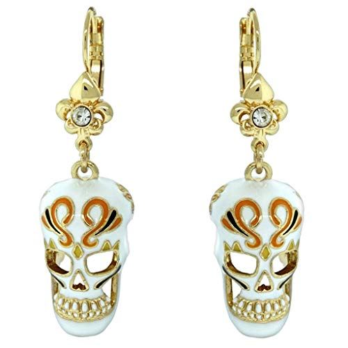 Skull Dangles Halloween Skeleton Earrings (Goldtone)