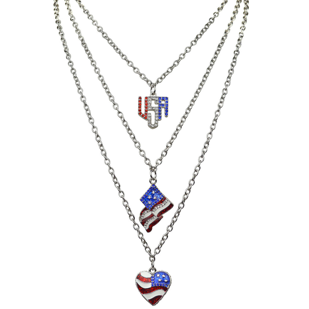 Triple Chain American Flag Necklace | American Jewelry