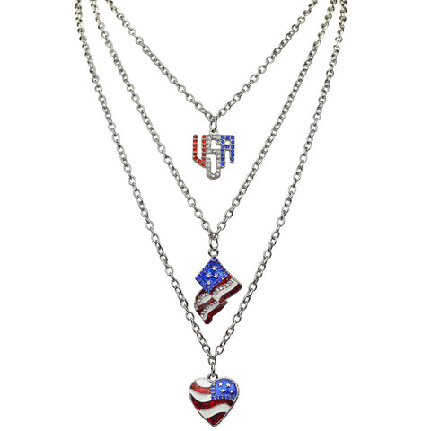 Triple Chain USA Flag Red White & Blue Enamel Charm Pendant Necklace Set (Silvertone) Ritzy Couture