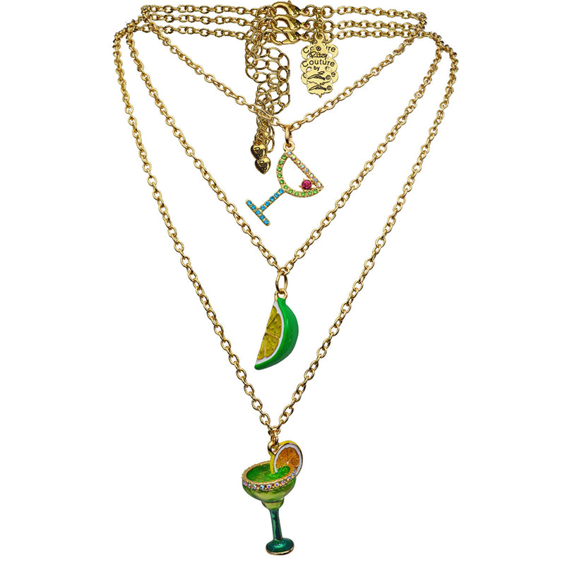 Triple Chain Margarita Cocktail Charm - Necklace Jewelry