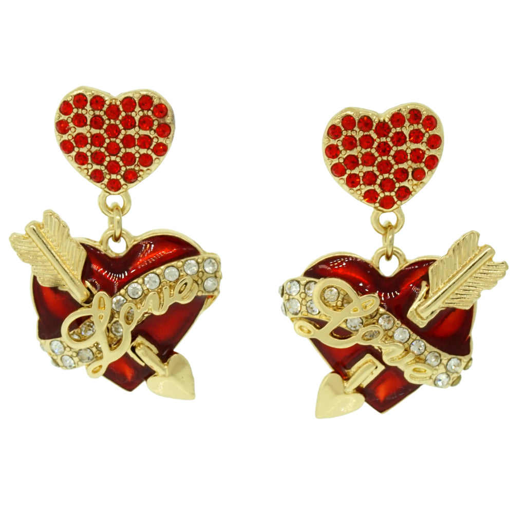 Hearts & Arrows Red Dangle Earring - Heart Earrings