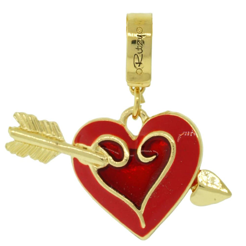 Ritzy Couture Heart Crystal Enhancer Charm (Goldtone)
