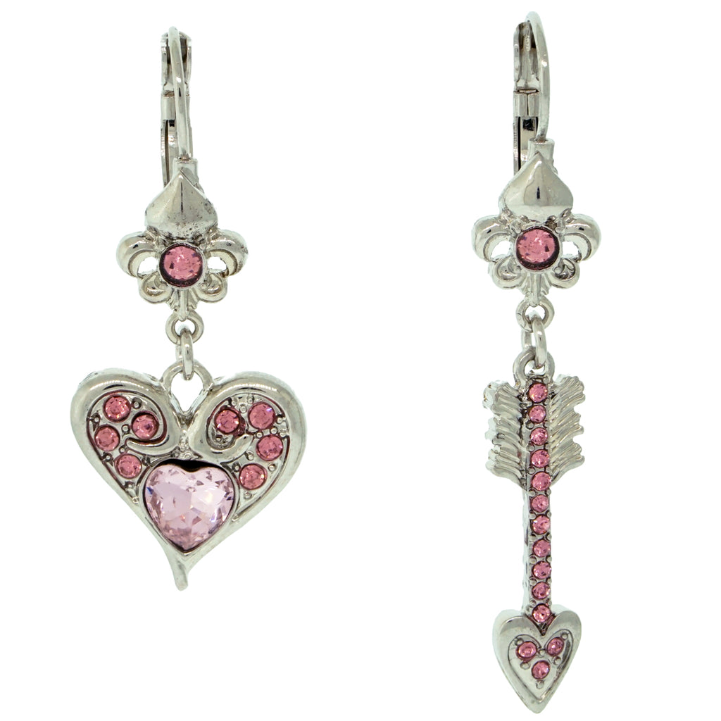 Love Heart & Arrow Dangle Earrings For Women