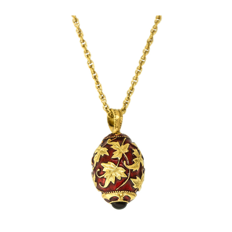 Gold Leaf Ruby Red Charm Pendant Necklace For Women