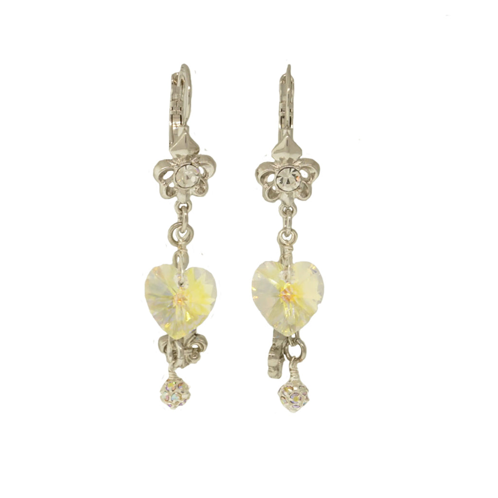 Fleur De Lis Crystal Heart Earrings For Women