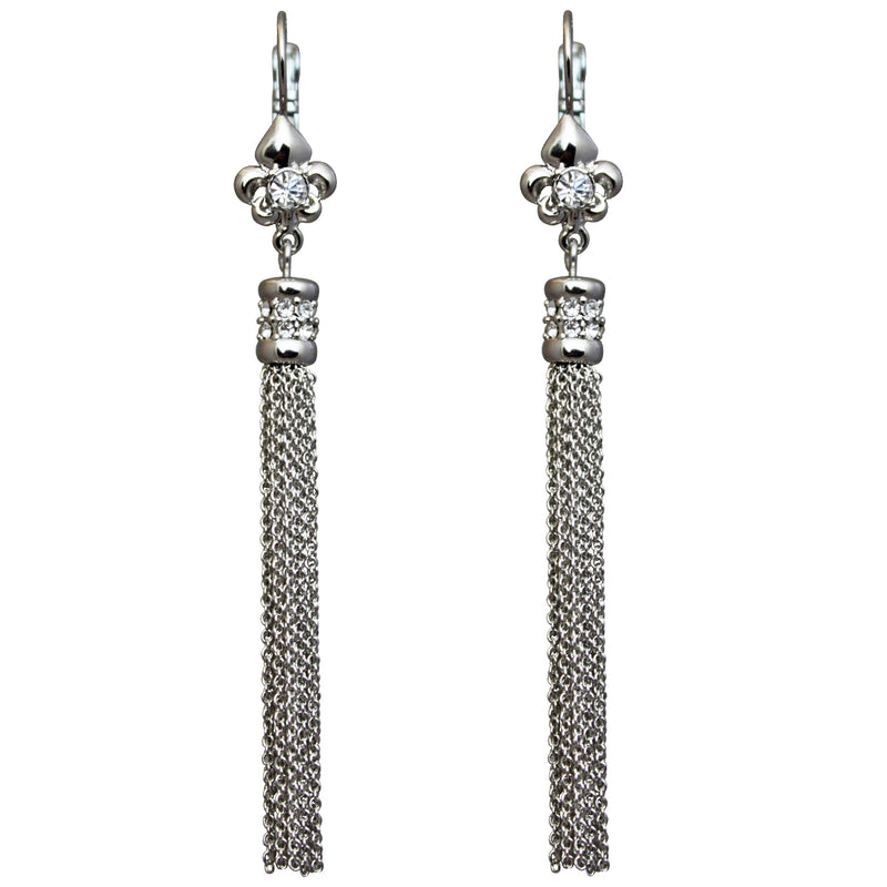 Fleur de Lis Crystal Silver Tassel Jewelry Earrings