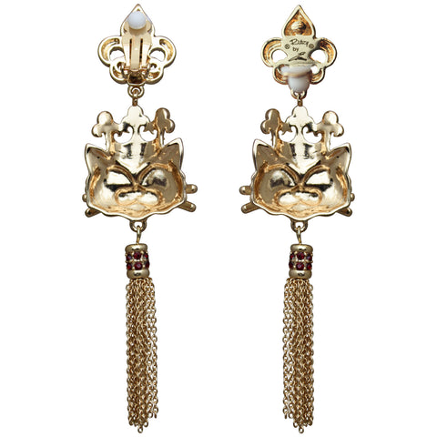 Princess Kitty Royal Tassel Earrings (White/Goldtone) Ritzy Couture