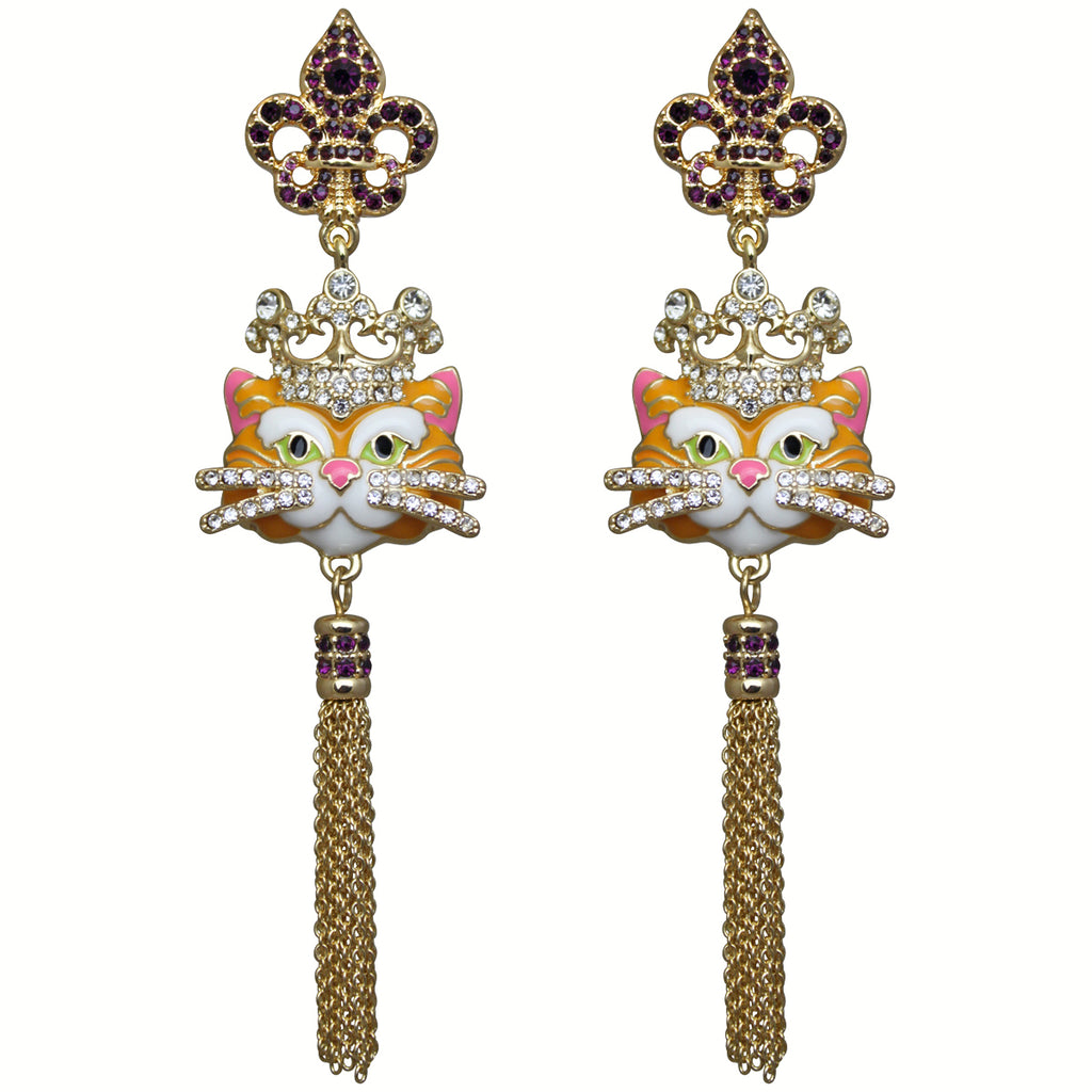 Princess Kitty Royal Tassel Charm Earrings For Women