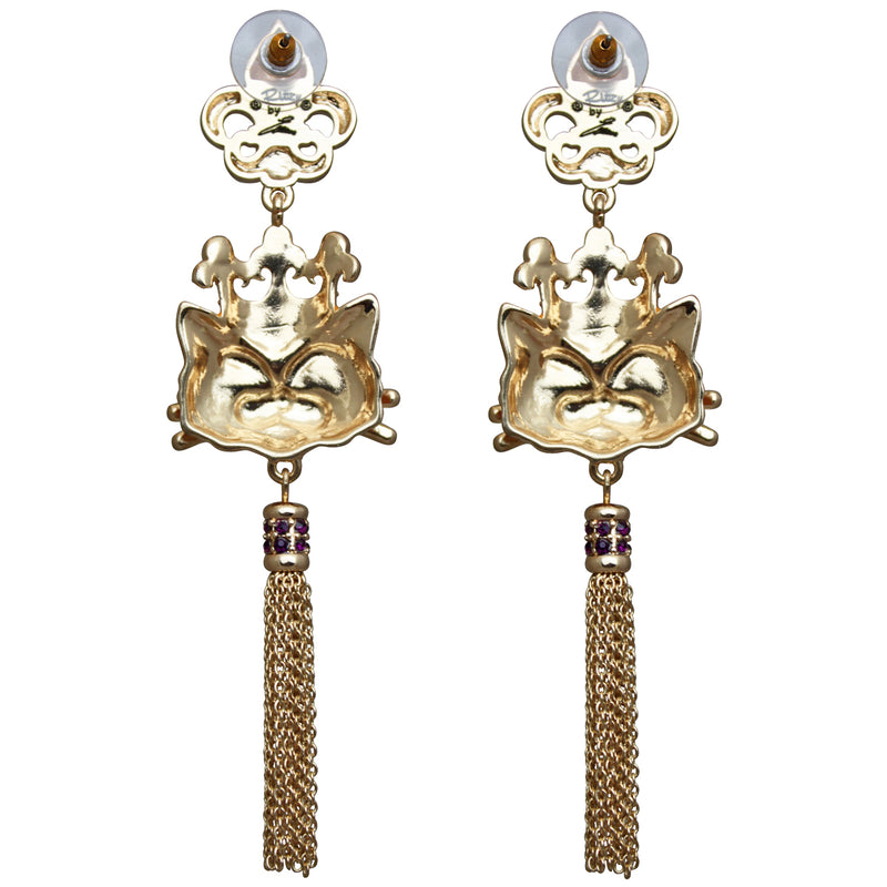 Princess Kitty Royal Tassel Jewelry Earrings For Women - Back Side