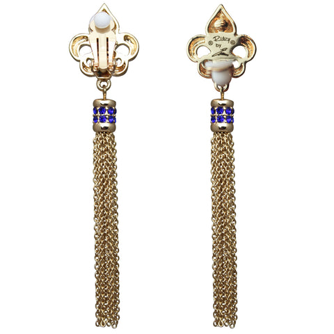 Royal Pave Fleur-de-lis Capri Blue Tassel Earrings (Goldtone) Ritzy Couture