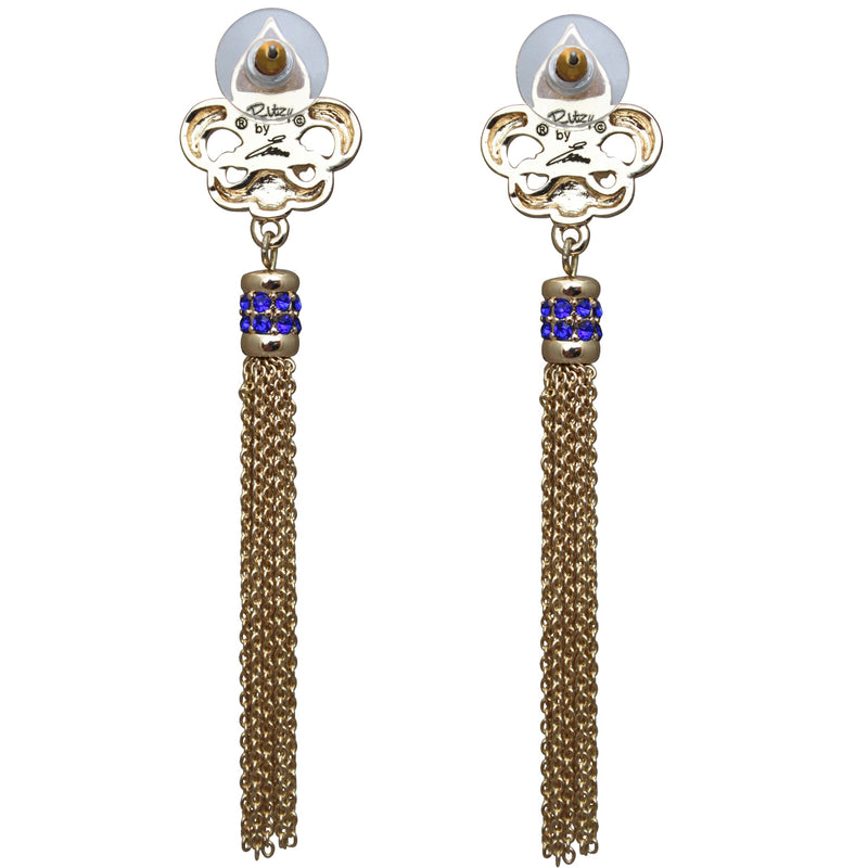 Royal Pave Fleur-de-Lis Capri Blue Tassel Earrings - Back Side