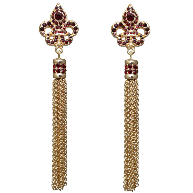 Royal Pave Fleur de Lis Siam Ruby Tassel Earrings