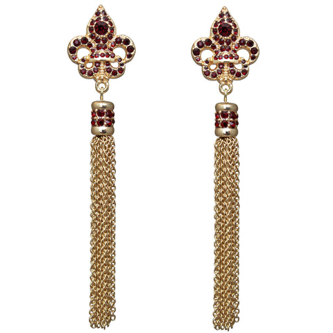 Royal Pave Fleur-de-lis Siam Ruby Tassel Earrings (Goldtone) Ritzy Couture