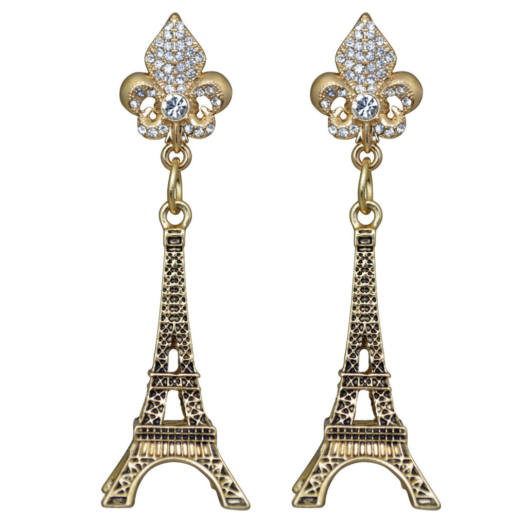 Ritzy Couture Eiffel Tower Dangle Earrings For Women (Antique Goldtone)
