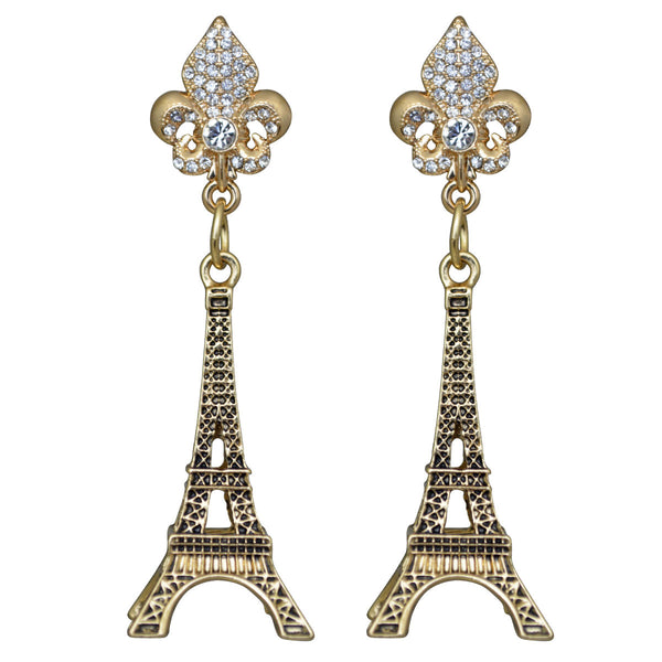 """Pretend You're French"" Paris Eiffel Tower Travel Earrings (Antique Goldtone) Ritzy Couture"