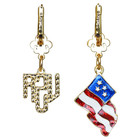 American Flag & Crystal USA Red White & Blue Leverback Earrings (Goldtone) Ritzy Couture