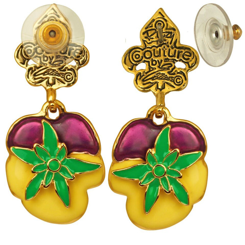 Pansy Dangle Charm Earrings - Flower Earrings