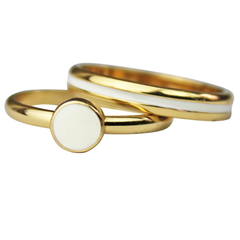 Two Rings White Enamel Set | Gold Plated
