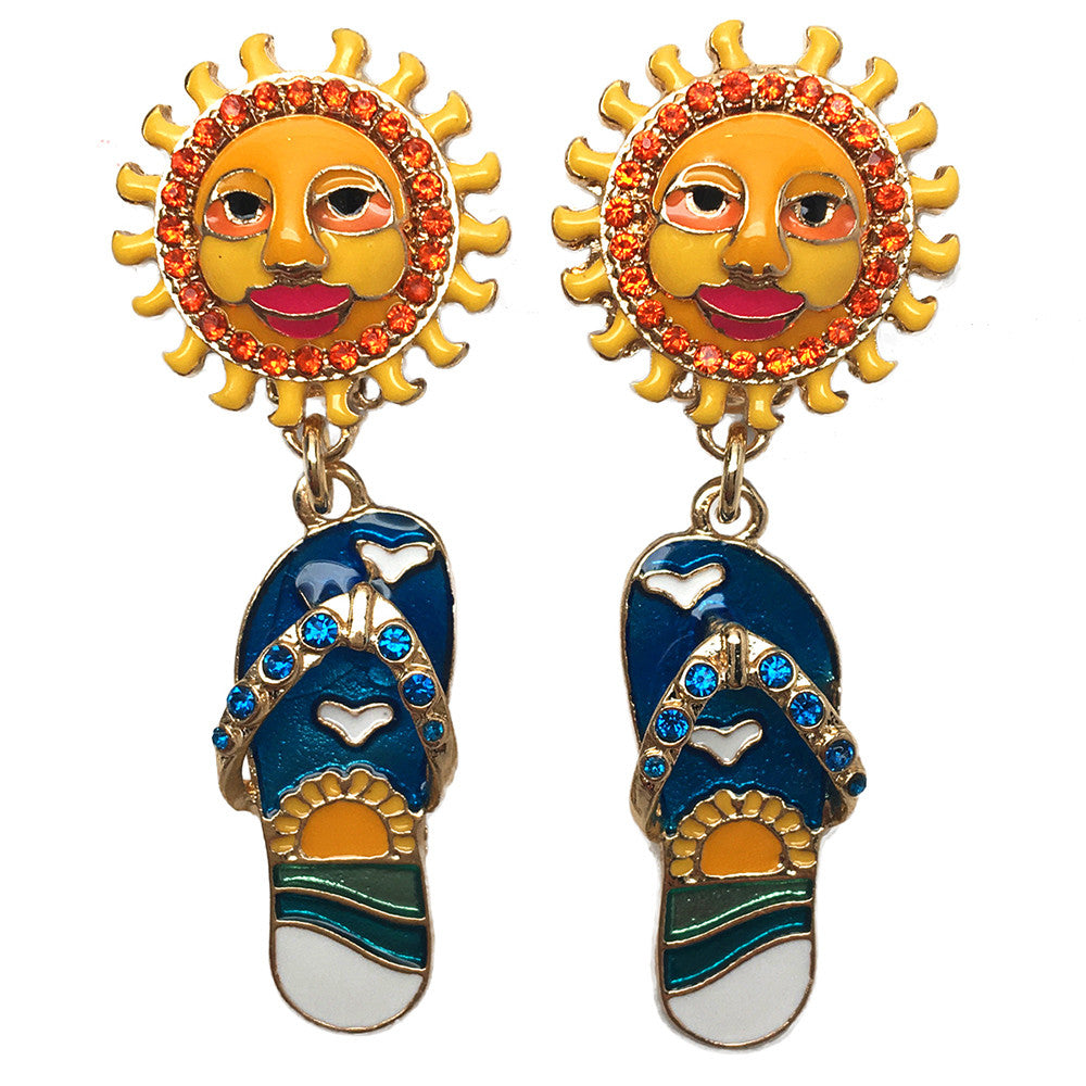 Summer Fun Flip Flop Sun Face Drop Dangle Earrings
