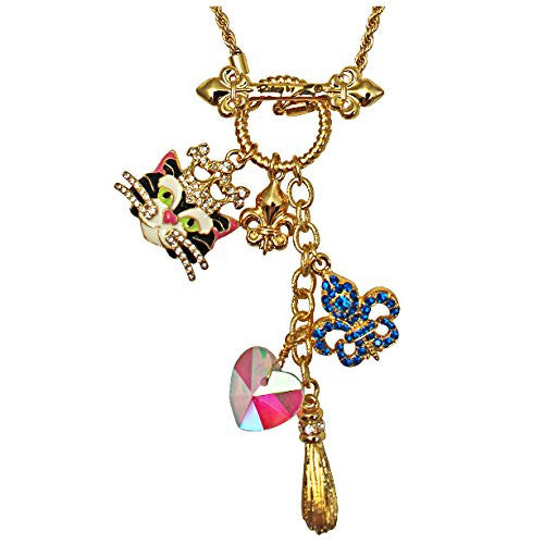 Princess Kitty Black Multi Charm Toggle Necklace (Goldtone) Ritzy Couture