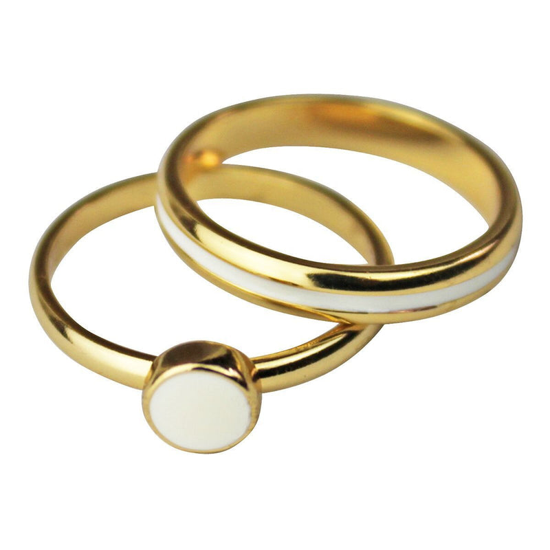 Two Rings White Enamel Set - Gold Plated