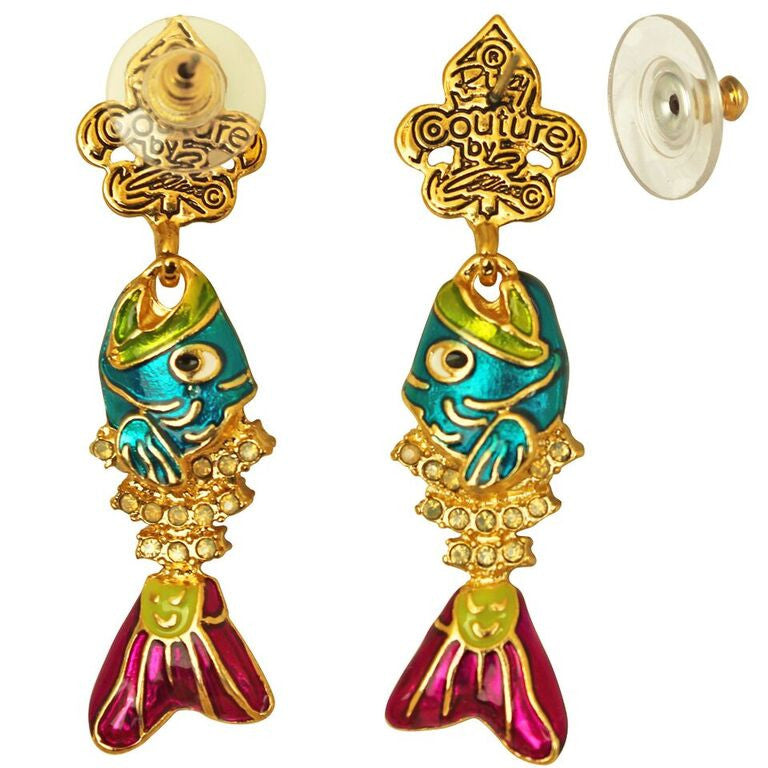 Fish Sticks Fishbone Pave Crystal Earrings For Women - Jewelry Earrings